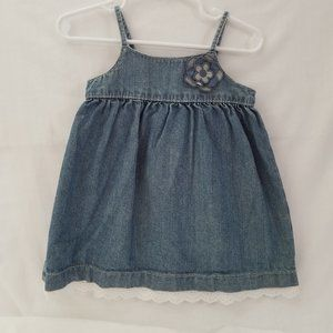 🌷 Infant Girls Washed Denim Blue Jean Dress